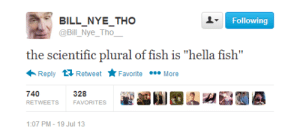 "Plural Of: BILL_NYE_THO  @Bill_Nye_Tho_  Following  the scientific plural of fish is ""hella fish""  Reply 17 Retweet  Favorite • More  740  328  RETWEETS  FAVORITES  1:07 PM - 19 Jul 13"