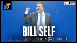 Bill Self picked up his 500th win last night for @KUHoops   Here's your reminder that he has an absurd 82% win percentage with the Jayhawks 😳 https://t.co/Awe5l24p5b: Bill Self picked up his 500th win last night for @KUHoops   Here's your reminder that he has an absurd 82% win percentage with the Jayhawks 😳 https://t.co/Awe5l24p5b
