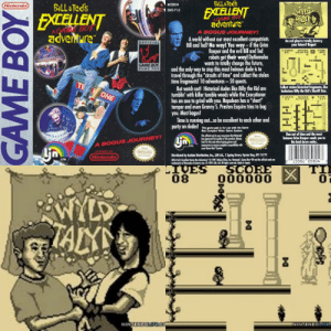 """Dude, Future, and Journey: BILL&Ted's  BILL &Ted's  EXCELLENT  adventure  ietendo  #05804  EXCELLENT  WYLD  TAKN  DMG P LB  AGAME BOY  adventure  A BOGUS JOURNEY!  A world without our most excllent compatriots  Bill and Ted? No way! Yes way-if the Grim  An evil plan to totally destray  your future? Bagus  Reaper and the evil Bill nd Ted  robots get their way! DeNomolos  wants to fotally change the future,  LTVES ScDBE TIE  0186s0  05  091  ZO AYS  travel through the """"circuits of time"""" and collect the stolen  time fragments! 10 adventures-50 quests.  But watch out! Historical dudes like Billy the Kid are  tumblin' with killer tumble weeds while the Executioner  has an axe to grind with you. Napoleon has a """"short""""  temper and even Granny S. Preston Esquire tries to bag  you. Most bogus!  Time is running out...o e excellent to each other and  party on dudes!  and the only way to stop this most heinous dude is to  TE ONE  Collect stelen bistorical frogments, like  bodadous Bily the Kid's Sheriff Star  THE  017  LTUEN  63 02vs8  SCOBE  This game pai is for use with the Game  Boy Compact Wdeo Game Syatem  Run out of time and the most  belnous Grim Reaper sends you to  the land down under,  This official se your  he uelity of fhi prodt Alwy  kr is sd when ging ge nd  to l with  your Gome Ba Sen  iotendo  A BOGUS JOURNEY  LTD  Distributed by Acdm Distributi, Inc, LN Ld, 1 Spring Street, Oyster Bay, NY 11771  Nintendo  23582 """"05804  rdemrks of Nintendd nc cO1991 LU ll de in Jp  SCORE  000000  LIVES  08  X  0  BWILD  TAX  NINTNDG.Co  NINTENDOLIFE!  GAME BOY Things have come a long way since Bill and Ted's Excellent Gameboy Adventure (1991)."""