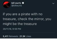 Calvin Johnson, Mirror, and Star: bill wurtz  @billwurtz  if you are a pirate with no  treasure, check the mirror, you  might be the treasure  29/11/18, 9:59 PM  5,411 Retweets 21.3K Likes That is what you are, youre my golden star. via /r/wholesomememes https://ift.tt/2zKShhR