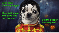 - Sad Comics: Billie Jean  is not my doggo  She's just a pug  Who says that  I am the one  orkborkiamdoggo com  But the pupper  is not my son - Sad Comics