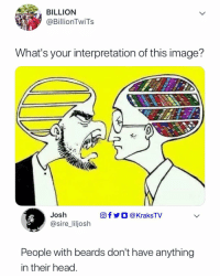 Head, Memes, and Image: BILLION  @BillionTwiTs  What's your interpretation of this image'?  Josh  @sire_liljosh  回f y O @KraksTV  People with beards don't have anything  in their head Really? 😂😂 What's your own interpretation? 👇🏾👇🏾 . KraksTV