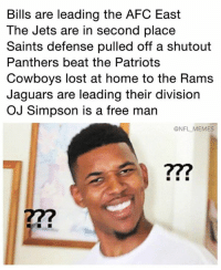 This week's version of wtf is with the NFL: Bills are leading the AFC East  The Jets are in second place  Saints defense pulled off a shutout  Panthers beat the Patriots  Cowboys lost at home to the Rams  Jaguars are leading their division  OJ Simpson is a free man  ONFL MEMES  277 This week's version of wtf is with the NFL