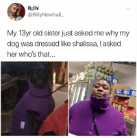 Memes, Old, and 🤖: BillY  @BillyNewhall_  My 13yr old sister just asked me why my  dog was dressed like shalissa, I asked  her who's that. Post 1788: this makes sense to me