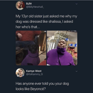 Beyonce, Dank, and Memes: BillY  @BillyNewhall  My 13yr old sister just asked me why my  dog was dressed like shalissa, I asked  her who's that...  Kamye West  @itsKammy G  Has anyone ever told you your dog  looks like Beyoncé? mE nigga by scooderankle MORE MEMES