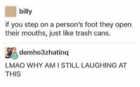 At-At, Lmao, and Trash: billy  if you step on a person's foot they open  their mouths, just like trash cans.  ybdemho3zhatinq |LAUGHING AT  AT  LMAO WHY AMI STILL  THIS memehumor:  Hope everyone tries this