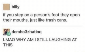 Lmao, Trash, and Hope: billy  if you step on a person's foot they open  their mouths, just like trash cans.  demho3zhatinq  LMAO WHY AMI STILL LAUGHING AT  THIS Hope everyone tries this