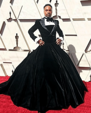Head, Memes, and Oscars: Billy Porter was a head turner on the Oscars red carpet. You like his 'Pose' in this half tux, half gown? More coming and at @toofabnews tmz billyporter pose oscars hollywood celebrity 📷Getty