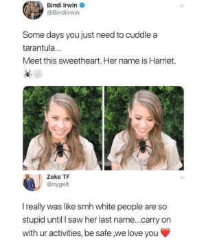 Dank, Love, and Memes: Bindi Irwin  @Bindilrwin  Some days you just need to cuddle a  tarantula...  Meet this sweetheart. Her name is Harriet.  Zeke TF  @nygelt  I really was like smh white people are so  stupid until I saw her last name...carry on  with ur activities, be safe we love you White people by Un4given111 MORE MEMES
