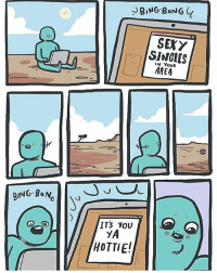 Memes, Sexy, and Bing: BING BoNG  SEXY  SINGLES  AREA  IN YouR  ITS YOU  HOTTIE! (artist: @cphigson) the sun in the first panel :O