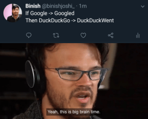 I DuckDuckWent every single line of code today: Binish @binishjoshi_ 1m  If Google -> Googled  Then DuckDuckGo -> DuckDuckWent  Yeah, this is big brain time. I DuckDuckWent every single line of code today