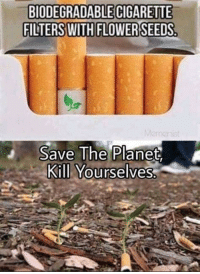 Flower, Cigarette, and Planet: BIODEGRADABLE CIGARETTE  FILTERS WITH FLOWER  Save lhe Planet,  Kill Yourselves Save the planet kill yourselves