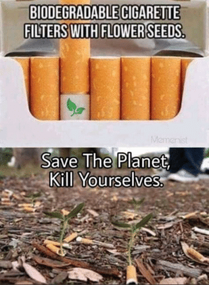 Flower, Cigarette, and Planet: BIODEGRADABLE CIGARETTE  FILTERS WITH FLOWER SEEDS  THID  Memenist  Save The Planet  Kill Yourselves.