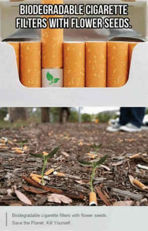 Save the worldomg-humor.tumblr.com: BIODEGRADABLE CIGARETTE  FILTERS WITH FLOWER SEEDS.  THIU  Biodegradable cigarette filters with flower seeds.  Save the Planet, Kill Yourself. Save the worldomg-humor.tumblr.com