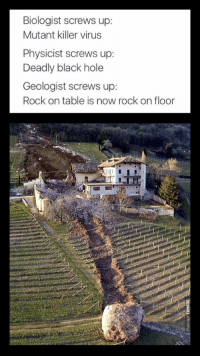 Funny, Black, and Rock On: Biologist screws up:  Mutant killer virus  Physicist screws up:  Deadly black hole  Geologist screws up:  Rock on table is now rock on floor ...oops
