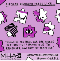 mentalillnessfeelslike for @mentalhealthamerica 💜 mentalhealthawarenessmonth bipolar: BIPOLAR DISORDER FEELS LIKE...  KNOWING YOU HAVE ALL THE PIECES  BUT FINDING IT IMPOSSIBLE TO  REMEMBER How THEY FIT TOGETHER  #MENTALILLNESSFEELSLIKE  Mental Health America  Gemma CORRELL mentalillnessfeelslike for @mentalhealthamerica 💜 mentalhealthawarenessmonth bipolar