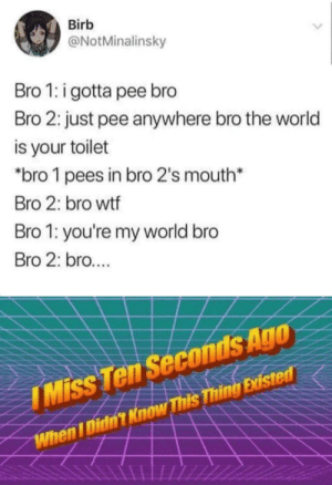 I miss 15 years ago, when I didn't exist: Birb  @NotMinalinsky  Bro 1: i gotta pee bro  Bro 2: just pee anywhere bro the world  is your toilet  *bro 1 pees in bro 2's mouth*  Bro 2: bro wtf  Bro 1: you're my world bro  Bro 2: bro...  IMiss Ten Seconds Ago  When I Didn't Know This Thing Existed I miss 15 years ago, when I didn't exist