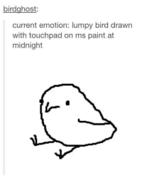 birdghost  current emotion: lumpy bird drawn  with touchpad on ms paint at  midnight