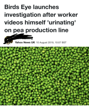 I guess he needed a pea: Birds Eye launches  investigation after worker  videos himself 'urinating'  on pea production line  Yahoo News UK 10 August 2019, 10:07 BST I guess he needed a pea