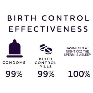 Anaconda, Sex, and Control: BIRTH CONTRO L  EFFECTIVENESS  HAVING SEX AT  NIGHT COZ THE  SPERM IS ASLEEP  BIRTH  CONTROL  PILLS  CONDOMS  99%  99%  100% Only the geniuses will know
