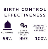 Anaconda, Control, and Heroes: BIRTH CONTRO L  EFFECTIVENESS  LEARNING TO  CODE IN  ASSEMBLY  BIRTH  CONTROL  PILLS  CONDOMS  99%  99%  100% The unsung heroes.
