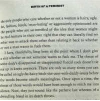 Bitch, Disappointed, and Memes: BIRTH OF A FEMINIST  the only people who care whether or not a woman is hairy, ugly,  fat, lesbian, butch  man-hating' or aggressively opinionated are  the people who are so terrified of the idea that women might  be real humans in their own right that they can literally find no  other way to attack them other than relating it back to whether  or not a man wants to fuck them.  I have, thankfully, long been at the point where I don't give  a shit whether or not someone wants to fuck me. The threat of  some dude's disapproval or disappointed flaccid cock doesn't tie  me up in knots anymore. There are only so many times you can  be called an ugly fat-hairy-bitch-slut-cunt-with-daddy issues before  the words become utterly meaningless. Once upon a time, the  threat of those words would have been enough to stitch me into  silence. Now, they just sound like the pathetic last wheezes of a  dwindling breed in its death throes. Fight Like A Girl by Clementine Ford is a read and a half!