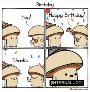 awesomacious:  As an introvert, I may look calm but in my mind…: Birthday  Happy Birthday!  Hey!  Thanks.  [INTERNAL JOY]  @mushroommovie awesomacious:  As an introvert, I may look calm but in my mind…