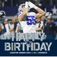 Birthday, Dallas Cowboys, and Memes: BIRTHDAY  LEIGHTON VANDER ESCH | LB | COWBOYS HAPPY BIRTHDAY to @dallascowboys star rookie @VanderEsch38! 🐺🎉 https://t.co/NZT7UXeYK1