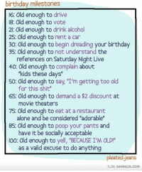 """pantsed: birthday milestones  16: Old enough to drive  18: Old enough to vote  2: Old enough to drink alcohol  25: Old enough to rent a car  30: Old enough to begin dreading your birthday  35: Old enough to not understand the  references on Saturday Night Live  40 Old enough to complain about  """"kids these days""""  50: Old enough to say, """"I'm getting too old  for this shit""""  65 Old enough to demand a $2 discount at  movie theaters  75: Old enough to eat at a restaurant  alone and be considered """"adorable""""  85: Old enough to poop your pants and  have it be socially acceptable  I00: Old enough to yell, """"BECAUSE I'M OLD!  as a valid excuse to do anything  Pleated Jeans  TLDR: DAMNLOLCOM"""