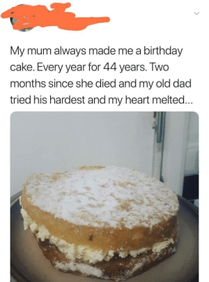 Birthday, Dad, and Cake: birthday  My mum always made me a  cake. Every year for 44 years. Two  months since she died and my old dad  tried his hardest and my heart melted... And he did and amazing job via /r/wholesomememes http://bit.ly/2EtyPIQ