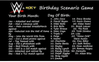 """John Cena, Memes, and The Rock: Birthday Scenario Game  & NOKT  Day of Birth  Your Birth Month  1, John Cena  18. Dana Brooke  Jan Attacked and retired  2. Daniel Bryan  19, Kevin Owens  Feb Had a romance with  3, Nikki Bella  20, Hideo Itam  Mar Main evented WrestleMania  4. Brie Bella  21, Brock Lesnar  5. Tyler Breeze  22. The Rock  against  Apr -tinducted into the Hall of Fame 6. Sami zayn  23, Trish Stratus  by  Triple H  24. Lita  25. """"Stone Cold  May Won the world title from  8. Paige  Naomi  Cut a shoot promo against  Steve Austin  Jun  with  Aug Did a with  Charlotte  26. Finn Balor  10.  11, Sasha Banks  27 Seth Rollins  Sep Best friends with  28. Dean Ambrose  12 Bayley  Nov- Attacked and retired ey  35. Dolph Ziggler  31. Alexa Bliss  Had a TLC match against  36. Bray Wyatt  17 Emma www.youtube.com/londonhawthorne"""