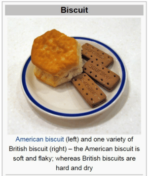 hqlle:  jamesdeenhateclub:  americans are u aware that ur using the word wrong  man shut up i swearta god with yall lil ugly hard ass cookies: Biscuit  American biscuit (left) and one variety of  British biscuit (right) - the American biscuit is  soft and flaky; whereas British biscuits are  hard and dry hqlle:  jamesdeenhateclub:  americans are u aware that ur using the word wrong  man shut up i swearta god with yall lil ugly hard ass cookies