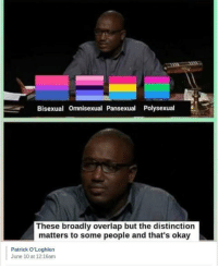 "Okay, Bisexual, and Pansexual: Bisexual Omnisexual Pansexual Polysexual  These broadly overlap but the distinction  matters to some people and that's okay  Patrick O'Loghlen  June 10 at 12:16am <p>And That's Okay via /r/wholesomememes <a href=""https://ift.tt/2to1gCy"">https://ift.tt/2to1gCy</a></p>"