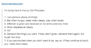 Everybody wants to be a cat: bisexualpiratequeen:  I'm trying hard to live by Cat Principles.  1-I am glorious above all things  2- Eat when hungry, sleep when sleepy, play when bored  3-Affection is given and received on my terms and only mine  4- Show displeasure clearly.  5- NO  6-Demand the things you want. If they aren't given, demand them again, but  ouder this time.  7- If you are touched when you don't want to be, say so. If they continue to touch  you, make them bleed. Everybody wants to be a cat