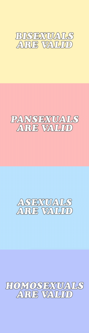 Target, Tumblr, and Blog: BISEXUALS  ARE VALID   PANSEXUALS  ARE VALID   ASEXUALS  ARE VALID   HOMOSEXUALS  ARE VALID cwote:  for whatever your orientation is 😌