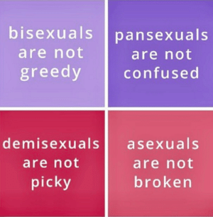 Confused, Tumblr, and Asexual: bisexuals pansexuals  are not  are not  confused  greedy  demisexuals asexuals  are not  brokern  are not  picky veryproudtobelgbtq:  Proud to be Bisexual,Pansexual,Demisexual,Asexual.