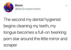 Mirror, Porn, and Star: Bison  @McGrumpenstein  The second my dental hygienist  begins cleaning my teeth, my  tongue becomes a full-on twerking  porn star around the little mirror and  scraper Put your tongue down, flip it and reverse it