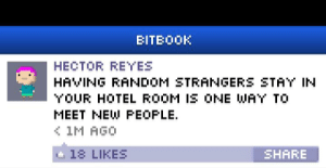 Well yes but...: BITBOOK  HECTOR REYES  HAVING RANDOM STRANGERS STAY IN  YOUR HOTEL ROOM IS ONE WAY TO  MEET NEW PEOPLE.  ( 1M AGO  e 18 LIKES  SHARE Well yes but...