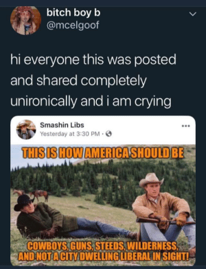 Libs: bitch boy b  @mcelgoof  hi everyone this was posted  and shared completely  unironically and i am crying  Smashin Libs  Yesterday at 3:30 PM.  THISIS HOWAMERICASHOULDBE  COWBOYS,GUNS, STEEDS,WILDERNESS  AND NOTACİTY DWELLING LIBERAL INSIGHTL