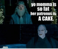 one of the best yo mama joke i know! -peeves: bitch.  yo momma s  So fat  her patronus is  A CAKE. one of the best yo mama joke i know! -peeves
