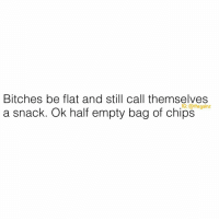 Memes, Good Morning, and Good: Bitches be flat and still call themselves  a snack. Ok half empty bag of chips  G: @thegainz Good morning ☕️