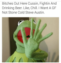steve austin: Bitches Out Here Cussin, Fightin And  Drinking Beer. Like, Chill. I Want A GF  Not Stone Cold Steve Austin.