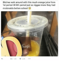 Blackpeopletwitter, Juice, and McDonalds: Bitches walk around with this much orange juice from  1st period till 9th period just so niggas know they had  mcdonalds before school  จ่า  1.6K2.6K <p>it&rsquo;s a sign of affluence (via /r/BlackPeopleTwitter)</p>