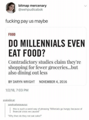 """phrasing: bitmap mercenary  @wehpudicabok  fucking pay us maybe  FOOD  DO MILLENNIALS EVEN  EAT FOOD?  Contradictory studies claim they're  shopping for fewer groceries...but  also dining out less  BY DARYN WRIGHT  NOVEMBER 4, 2016  1/2/18, 7:03 PM  snakebitcat  this is such a weird way of phrasing Millenials go hungry because of  financial crisis we caused  Why then do they not eat cake?"""""""