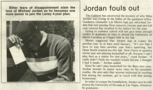 """Basketball, Crying, and Fail: Bitter tears of disappointment stain the  face of Michael Jordan as he becomes one  more senior to join the Laney 4-year plan.  The Galleon has uncovered the mystery of why Mike  Jordan was crying in the lobby of the guidance office.  Guidance counselor Lee Moore had just informed Jor-  dan that not passing three semester courses and one full  year courses has resulted in his failure for the year.  Going to summer school will not give hime enough  credits to graduate in time to attend the University of  North Carolina at Chapel Hill in the fall.  Moore suggested that Jordan stay at Laney for  another year or at least until January. """"It's not that I  have to stay here another year that's upsetting, but  Dean Smith wanted me this fall. Now I have to spend a  whole year not playing basketball at all, because I can't  play here as a senior for two years,"""" cried Jordan. """"I  really didn't think my teachers would fail me, I thought  I had it made,"""" Jordan added.  Since he can't play basketball for the Bucs next year,  Jordan intends to spend more time on his academic  studies. He also asks that anyone interested in tutoring  him during the summer, get in touch with him during  homeroom  In order to escape the humiliation, Jordan says he will  attend the University of Nevada at Las Vegas, whenever  he graduates. RT @inallairness: The origin of 'Crying Jordan'? April, 1981.  📷 The Galleon [Laney HS newspaper] https://t.co/IMaSbxSNbX"""