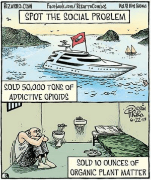 Im 14 & This Is Deep, Com, and Bizarro: BIZARRO.COM acebook.com/ BizarroComies Vist Kins  SPOT THE SOCIAL PROBLEM  SOLD 50,000 TONS OF  ADDICTIVE OPIOIDS  Ro  6.22.17  SOLD 10 OUNCES OF  ORGANIC PLANT MATTER Because those two things are directly related