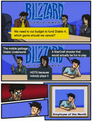 Blizzard, Budget, and Game: BIZZARI  TERTA ON MEN  We need to cut budget to fund Diablo 4,  which game should we cancel?  The mobile garbage  A StarCraft shooter that  Diablo Underworld  would actually be fun to play  ENTER  MENT  HOTS because  nobody plays it  Employee of the Month Meanwhile at Blizzard...