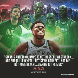 """Kobe Bryant, Russell Westbrook, and Kobe: BL  """"GIANNIS ANTETOKOUNMPO IS NOT RUSSELL WESTBROOK...  NOT SHAQUILLE O'NEAL...NOT KEVIN GARNET..NOT ME...  NOT KOBE BRYANT...GIANNIS IS THE MVP.""""  PAU GASOL  VIA THE PLAYERS TRIBUNE  CLUTCHPOTNTS Giannis truly is a one-of-a-kind player 🔥 — @BucksNationCP"""