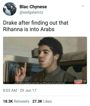 Praise be to the 6 Allah by Serendipity378 MORE MEMES: Blac Chynese  @sadgalamzz  Drake after finding out that  Rihanna is into Arabs  8:03 AM 29 Jun 17  18.3K Retweets 27.3K Likes Praise be to the 6 Allah by Serendipity378 MORE MEMES