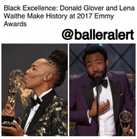 "Beautiful, Books, and Donald Glover: Black Excellence: Donald Glover and Lena  Waithe Make History at 2017 Emmy  Awards  @balleralert Black Excellence: Donald Glover and Lena Waithe Make History at 2017 Emmy Awards - blogged by @MsJennyb ⠀⠀⠀⠀⠀⠀⠀ ⠀⠀⠀⠀⠀⠀⠀ On Sunday, black excellence took over the 2017 Emmy Awards after DonaldGlover and LenaWaithe made history, becoming the first black winners in their categories. ⠀⠀⠀⠀⠀⠀⠀ ⠀⠀⠀⠀⠀⠀⠀ Glover, who has been a fan-favorite in all aspects of his very diverse career, took home his very first Emmy award for Outstanding Directing for a Comedy Series for his FX dramedy ""Atlanta."" The win etched Glover's name in the Emmy record books, as he became the first-ever black director to win in that category. He also snapped the four-year streak of female directors, who previously dominated the category. ⠀⠀⠀⠀⠀⠀⠀ ⠀⠀⠀⠀⠀⠀⠀ ""Man! First I want to thank the great algorithm that put us all here,"" Glover said, during his acceptance speech. ""I want to thank my parents, who are in the audience. This is nuts! …I just love everybody out here for letting me be up here, so thank you. Thank you all."" ⠀⠀⠀⠀⠀⠀⠀ ⠀⠀⠀⠀⠀⠀⠀ In turn, Waithe became the first-ever black woman to win the Emmy Award for Outstanding Writing for a Comedy Series for her work on the ""Thanksgiving"" episode from season 2 of ""Master of None."" ⠀⠀⠀⠀⠀⠀⠀ ⠀⠀⠀⠀⠀⠀⠀ ""I see each and every one of you,"" she said, during her speech. ""The things that make us different, those are our superpowers. Every day when you walk out the door, put on your imaginary cape and go out there and conquer the world because the world would not be as beautiful as it is if we weren't in it."" ⠀⠀⠀⠀⠀⠀⠀ ⠀⠀⠀⠀⠀⠀⠀ Congratulations to Glover and Waithe on their historical night!"